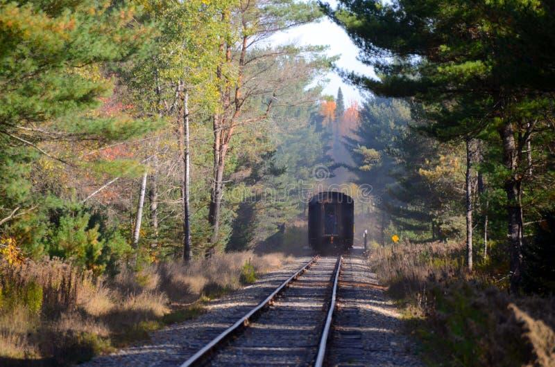 把Forestport留在的ADK火车在smole云彩  免版税图库摄影