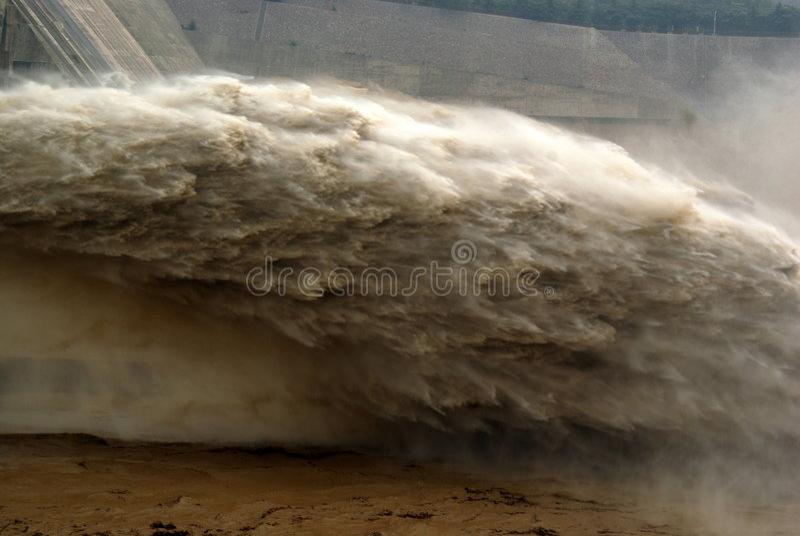 抑制洪水做的人出口峰顶 库存照片