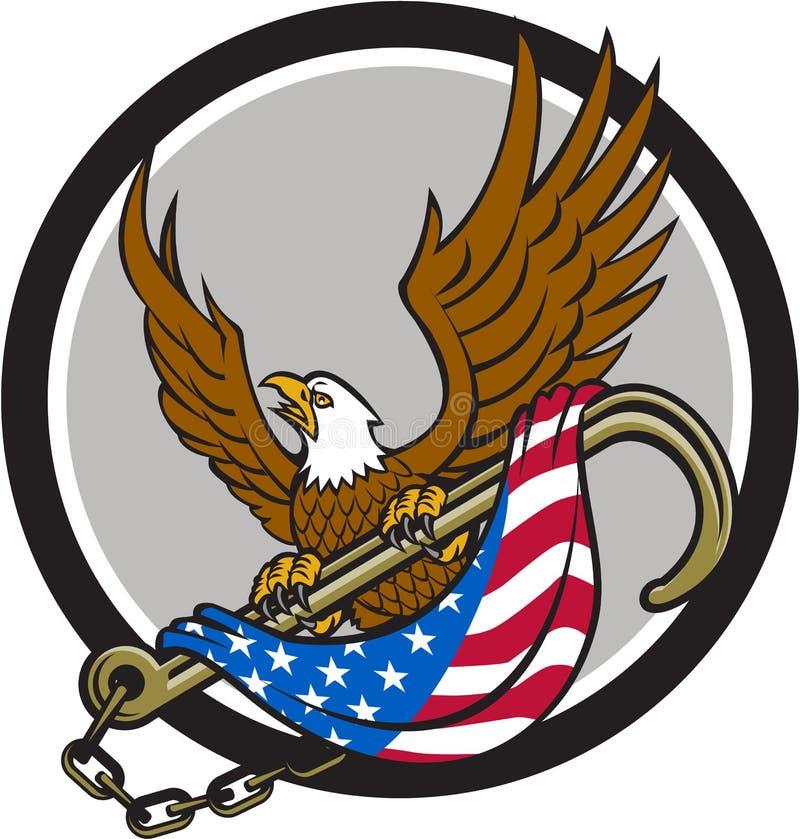 抓住拖曳J挂钩旗子圈子的美国老鹰减速火箭 库存例证