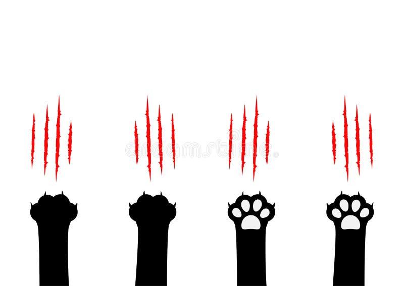 抓集合的猫爪 黑爪子印刷品腿脚 血淋淋的爪动物红色抓痕刮轨道 逗人喜爱的漫画人物身体局部 库存例证
