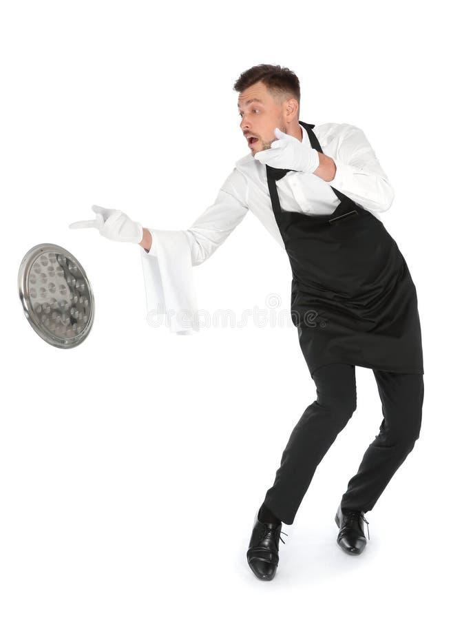 投下在白色背景的笨拙的侍者空的盘子 库存照片
