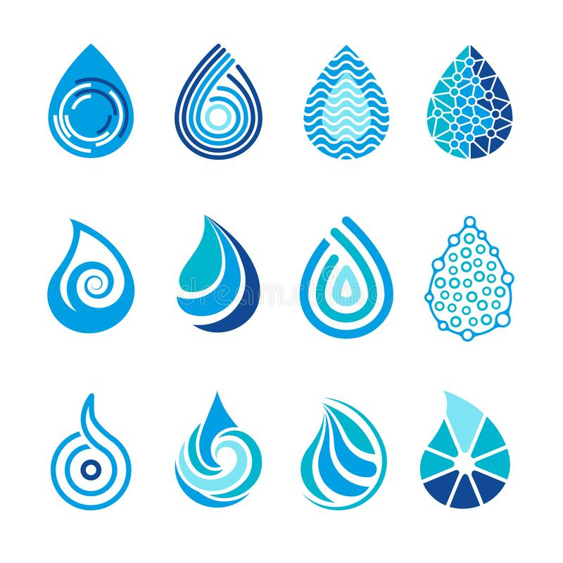 投下象 水飞溅传染媒介医疗保健水色h2o商标设计的抽象符号 皇族释放例证