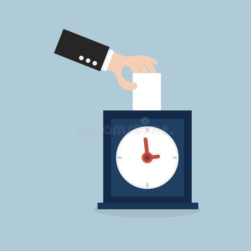 投入卡片的手在时钟 库存例证