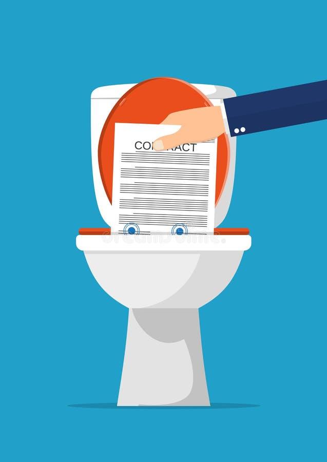 投入合同纸的商人手在洗手间 库存例证