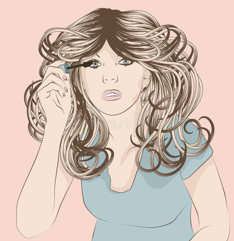 投入在染睫毛油构成的妇女 免版税库存图片