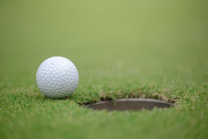 投入在绿色和高尔夫球的高尔夫球运动员在孔附近 库存图片
