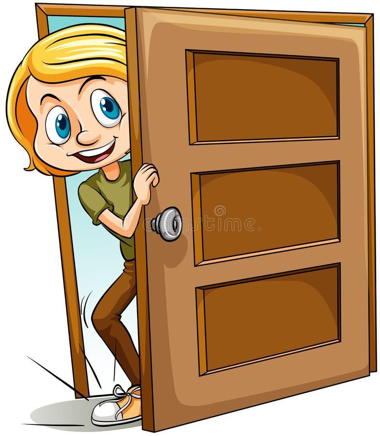 投入在门里面的脚 库存例证