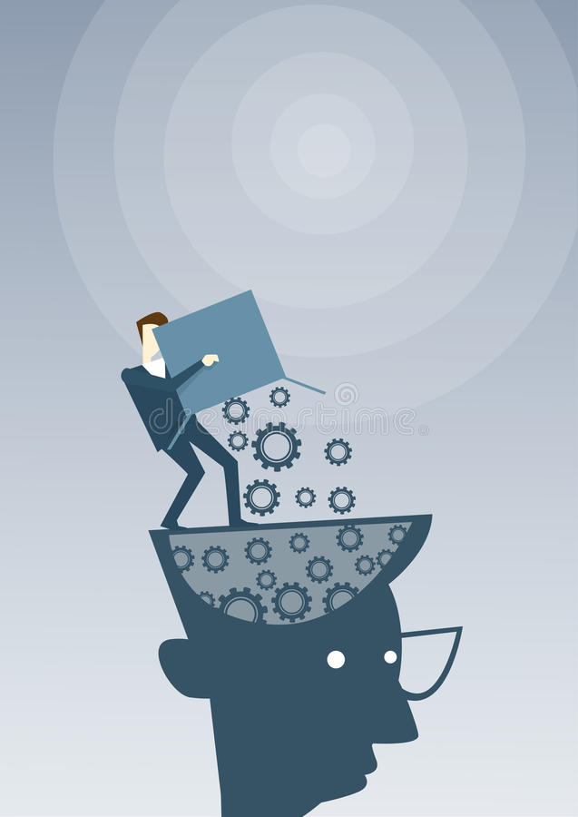 投入嵌齿轮的商人把开放头想法的企业想法启发,创造性的处理概念激发灵感引入 库存例证