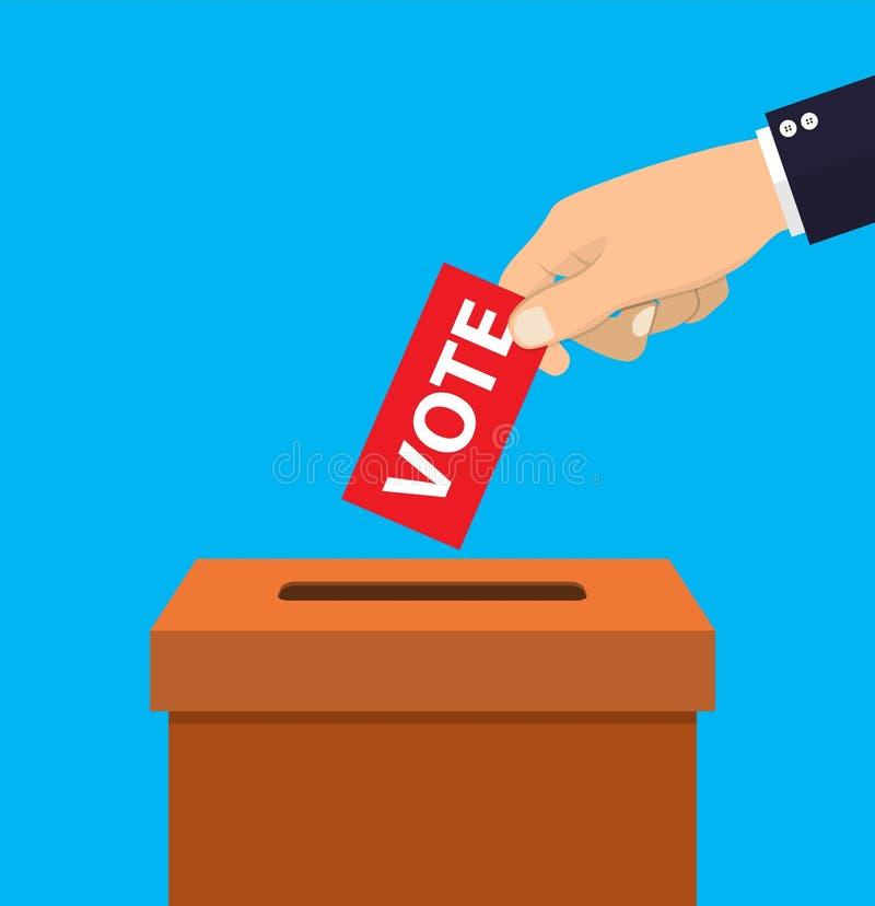 投入投票的pape的人的手 皇族释放例证