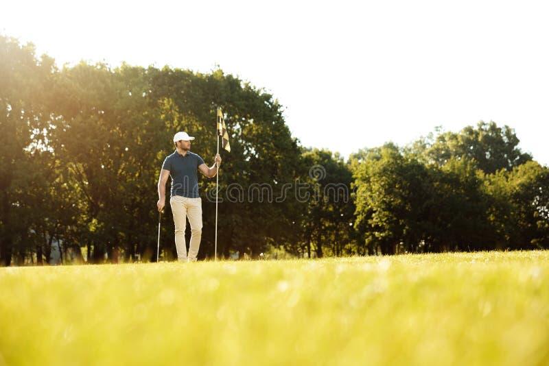 投入旗子的男性高尔夫球运动员在孔在高尔夫球场 库存图片