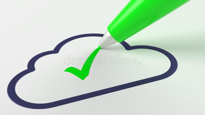 投入检查号的绿色笔在一黑暗的云彩标志云彩compu 库存例证