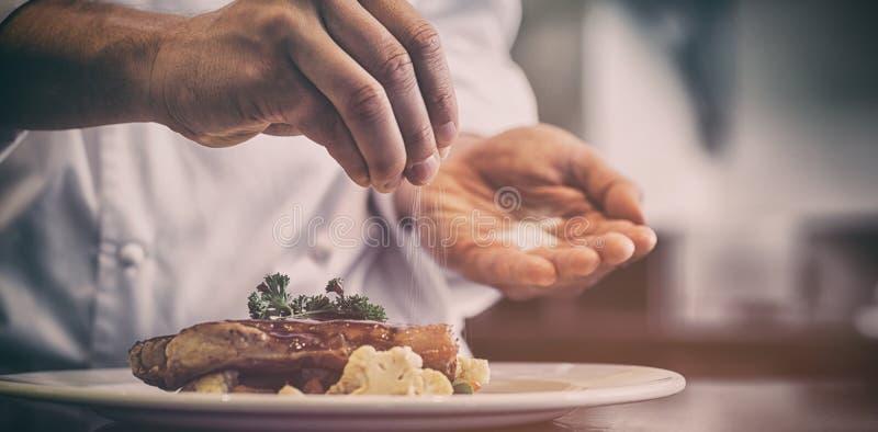 投入盐的厨师的特写镜头中间部分 免版税图库摄影