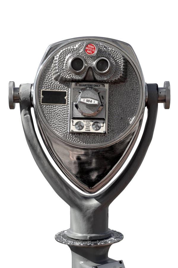 投入硬币后自动操作的双筒望远镜 免版税库存照片