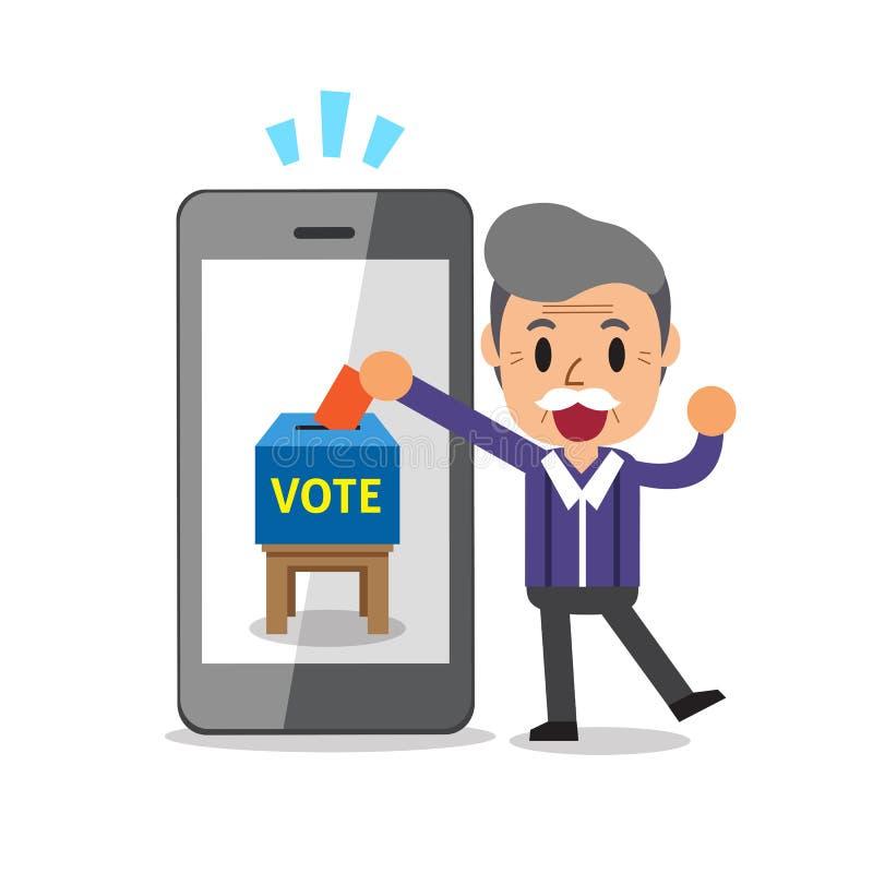 投入选票的动画片老人在智能手机 库存例证