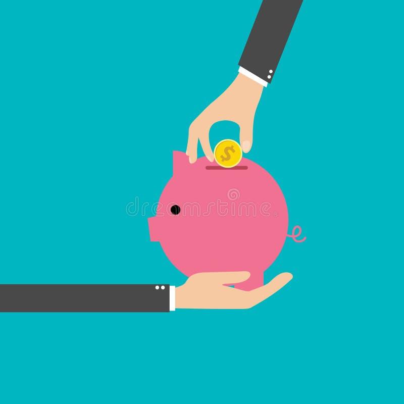 投入金币的企业手在滑稽的桃红色存钱罐钱箱海报传染媒介例证 向量例证