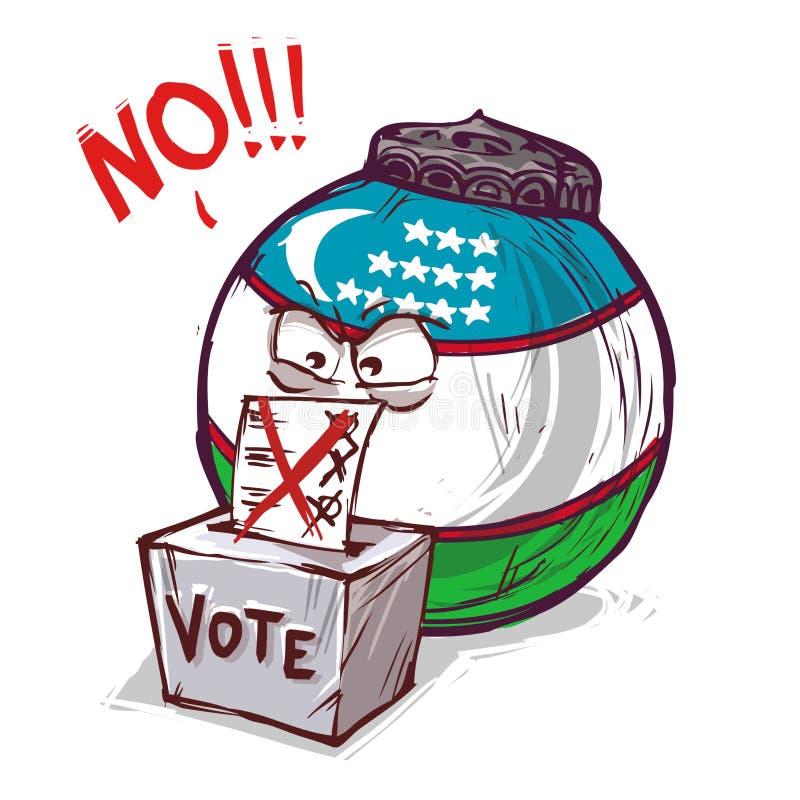 投反对票的乌兹别克斯坦 库存例证