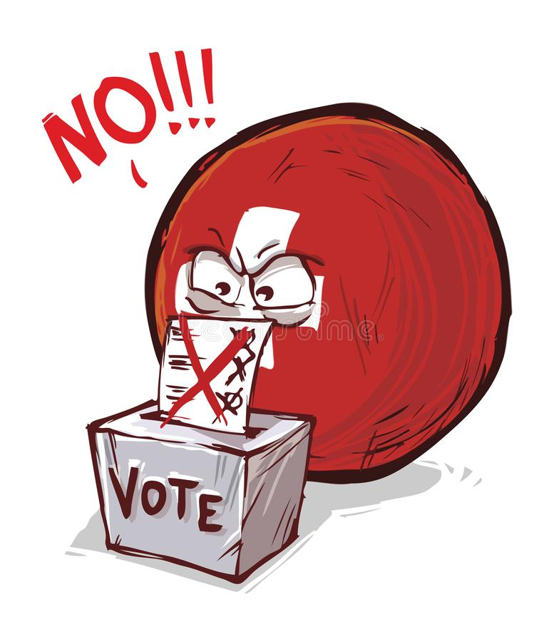 投反对票的瑞士 皇族释放例证