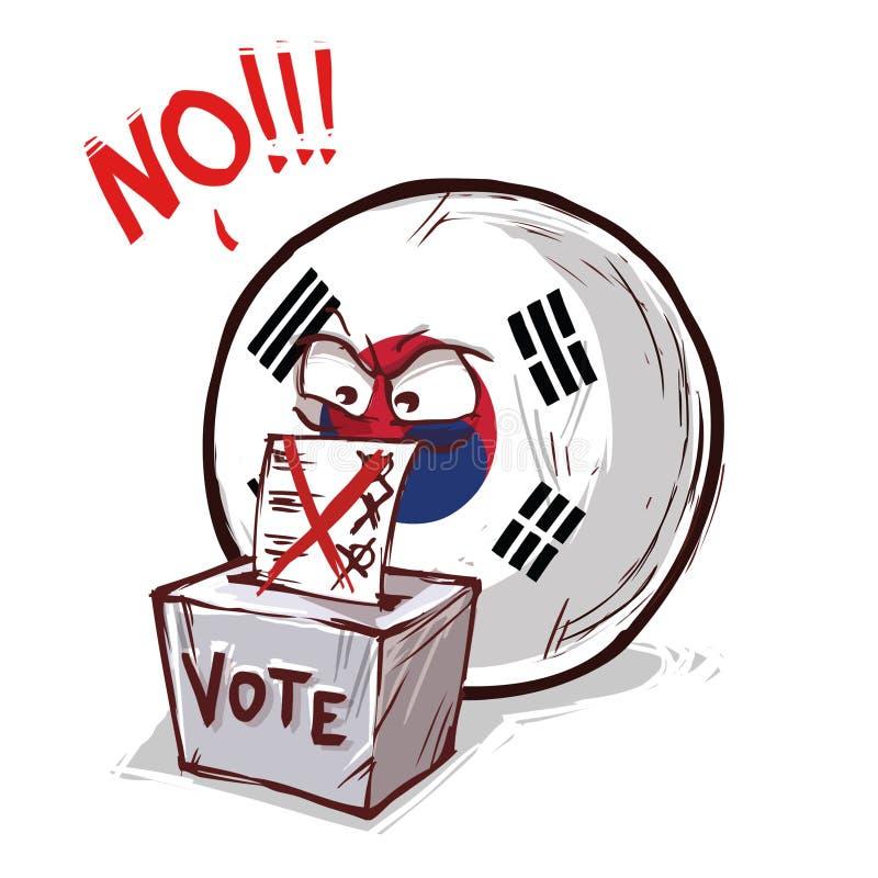 投反对票的韩国 向量例证