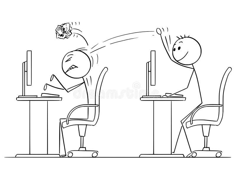 投掷在工友的商人动画片被弄皱的纸球 向量例证