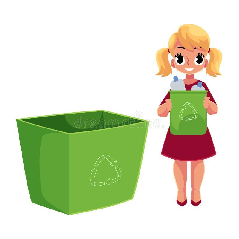 投掷塑料瓶的女孩入垃圾桶,回收概念的垃圾 皇族释放例证