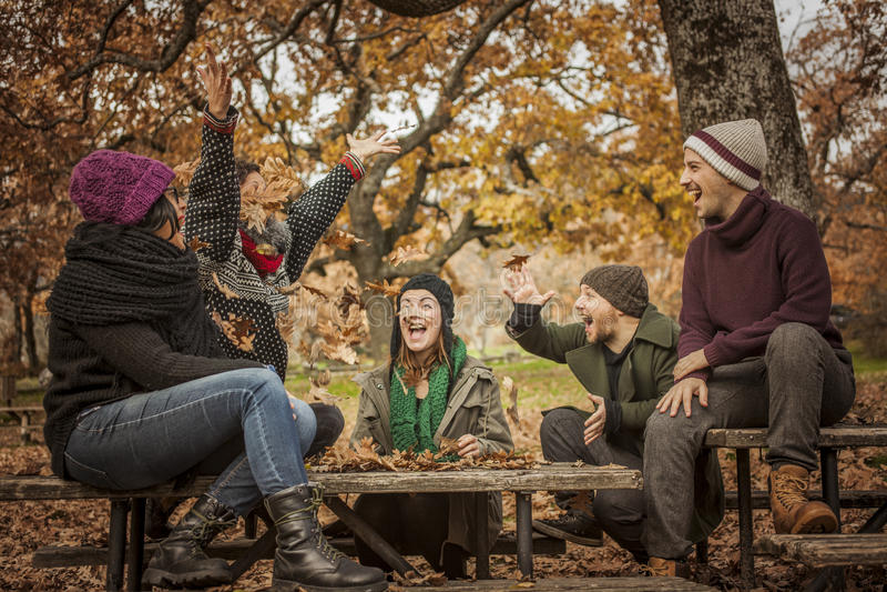 投掷小组的青年人在公园离开 幸福 免版税库存照片