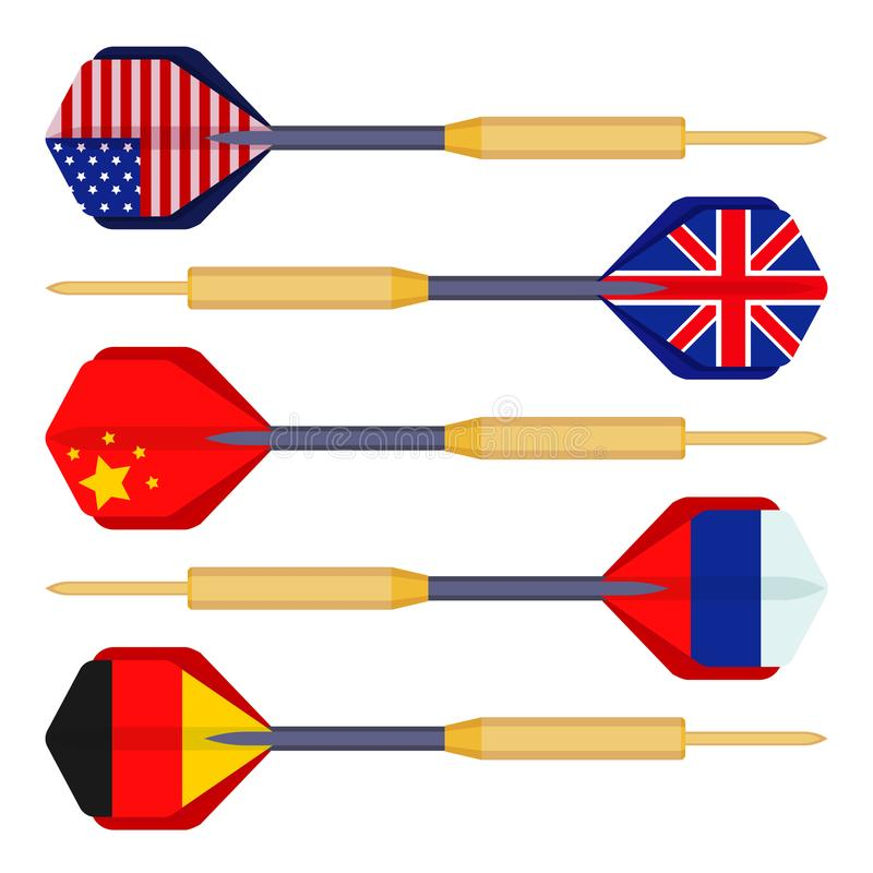 投掷有国家传染媒介旗子的箭头小导弹  库存例证