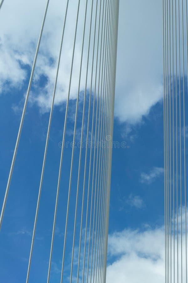 投掷联盟入在suspebsion桥梁的空气在蓝天与 免版税库存照片