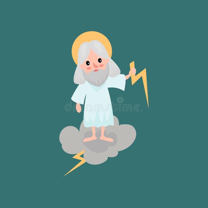投掷闪电的恼怒的有胡子的神字符 向量例证