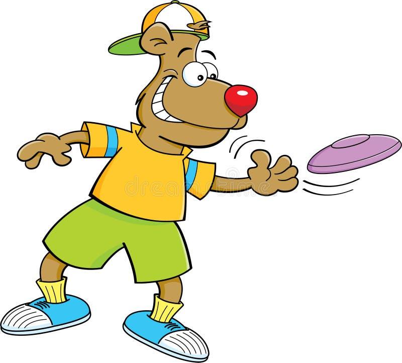 投掷飞盘的动画片熊 库存例证