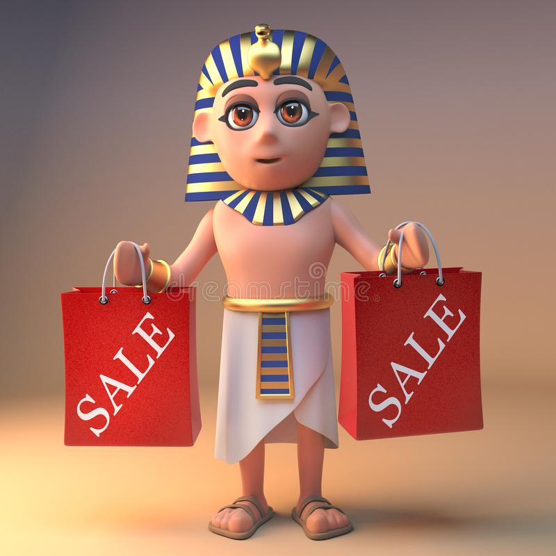 投机商埃及法老王拿着一些销售购物带来,3d的Tutankhamun例证 皇族释放例证
