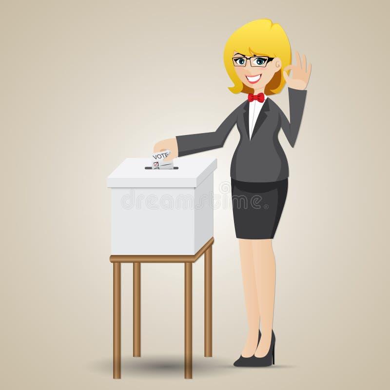 投票与投票箱的动画片女实业家 向量例证