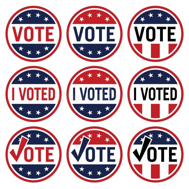 投票和我投票选举政治标志用红白蓝色孤立矢量图插图 库存照片