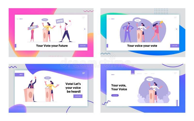 投票或政治讨论网站登录页集 《人物》:遵纪守法的公民投票 向量例证