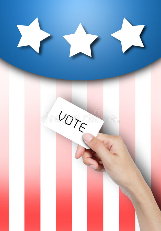 投票手中的看板卡。 库存图片