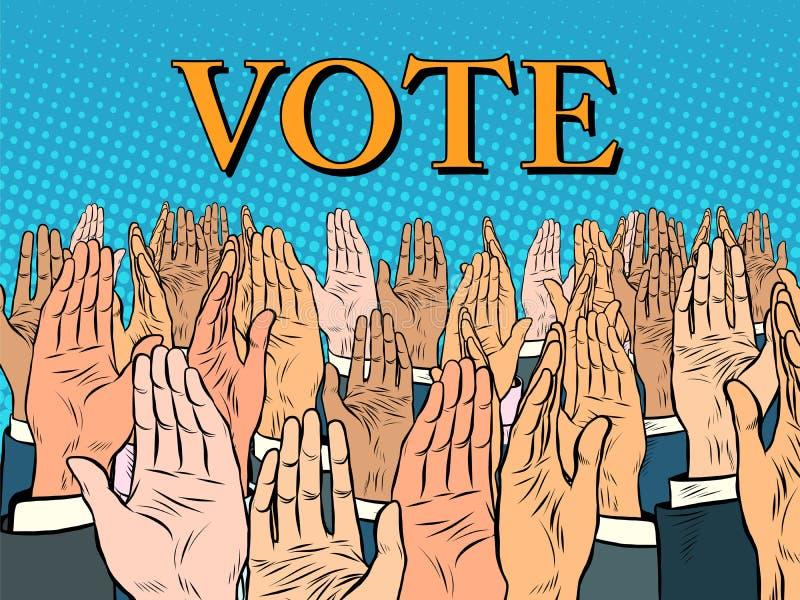 投票支持候选人的手 库存例证