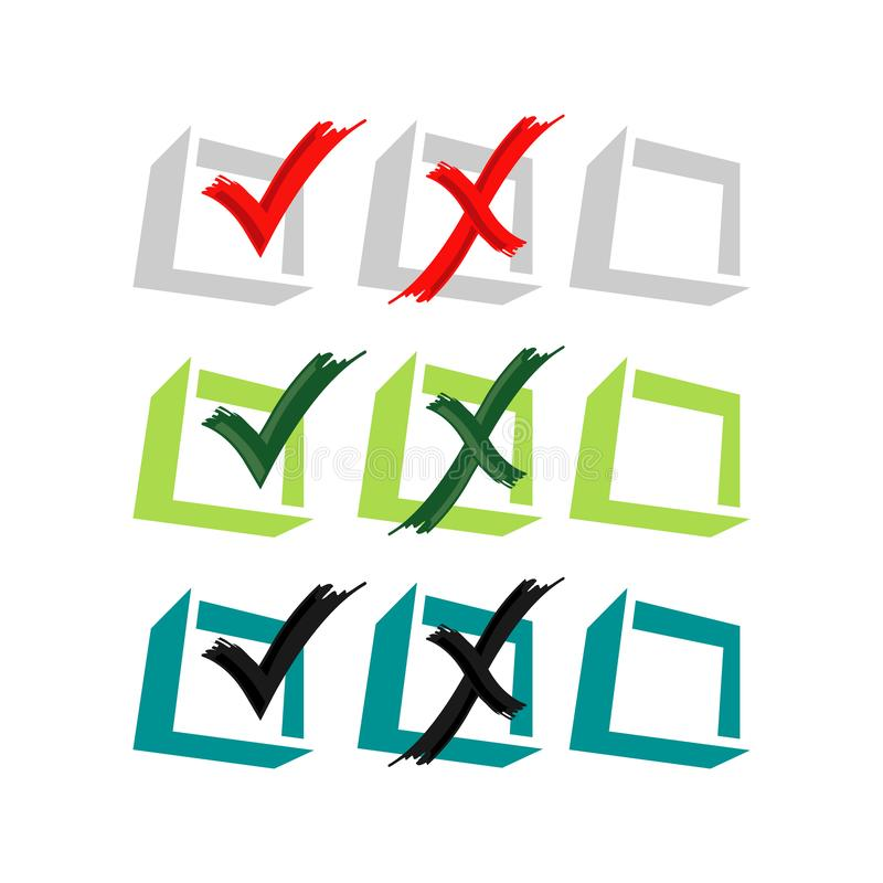 投票是或否矢量徽标设计时尚设计风格的假或真图标 库存例证