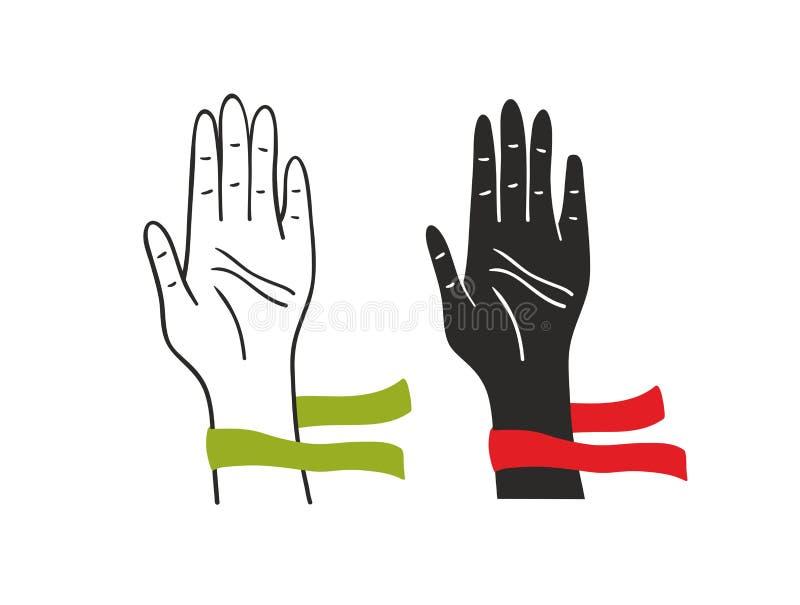 投票的人民的两只手 向量例证