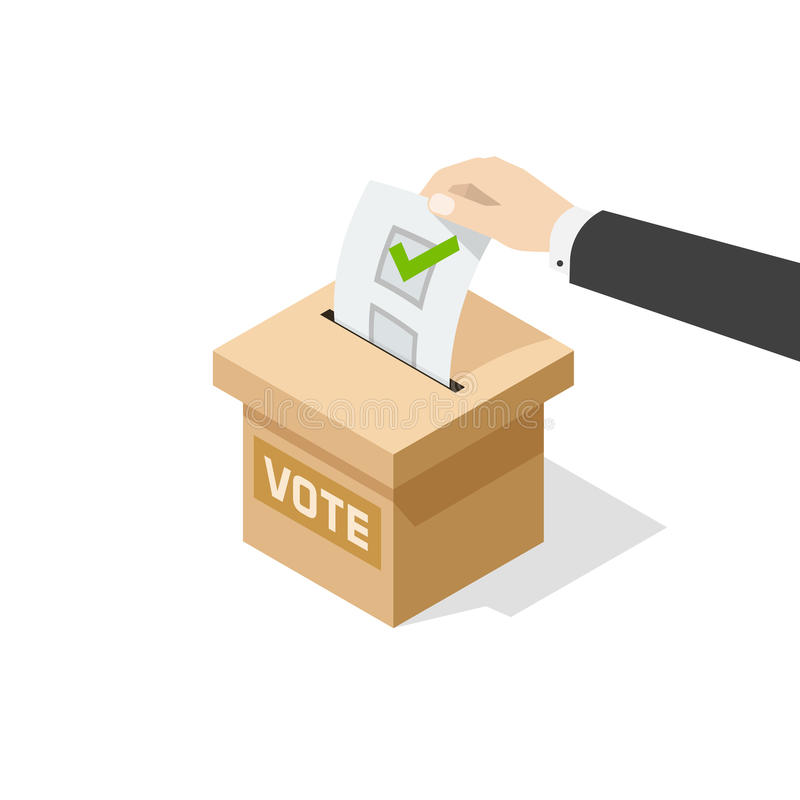投票的传染媒介供以人员在表决箱子的手政治选票 皇族释放例证