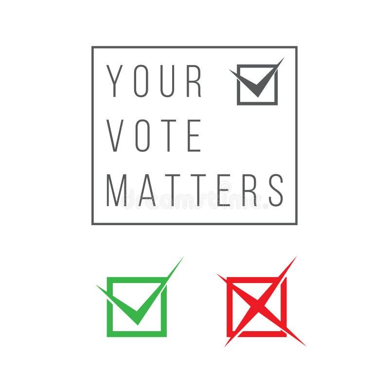 投票的标志为了和反对-是或否 皇族释放例证
