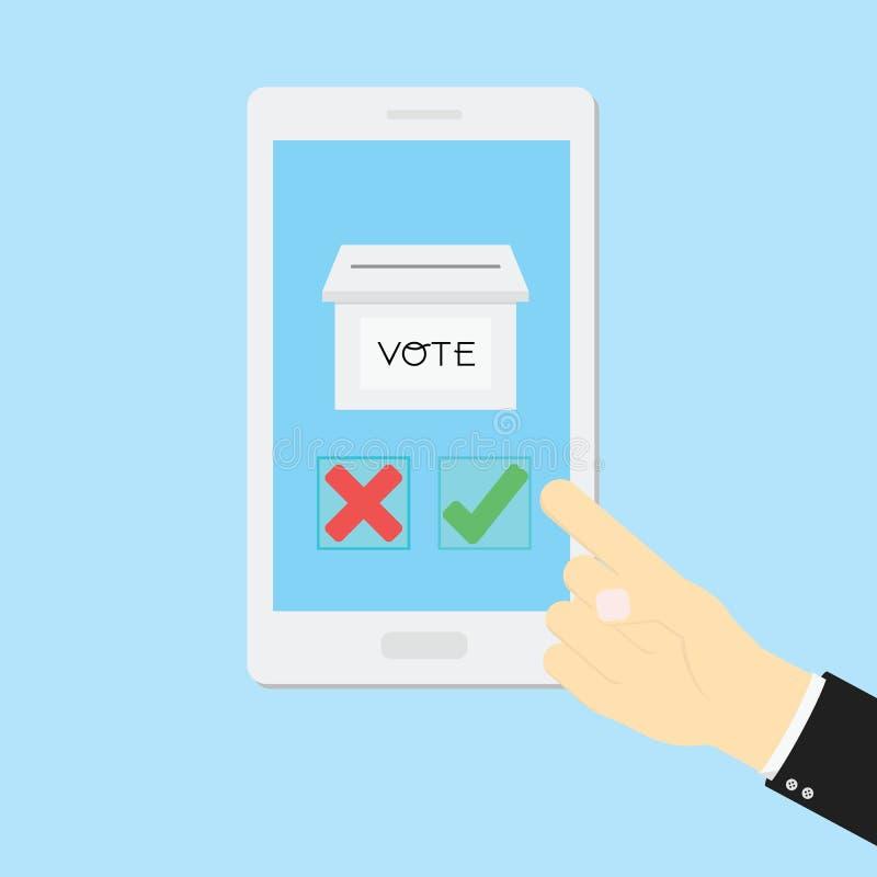 投票的概念用手被投入的真实或无法手机 皇族释放例证