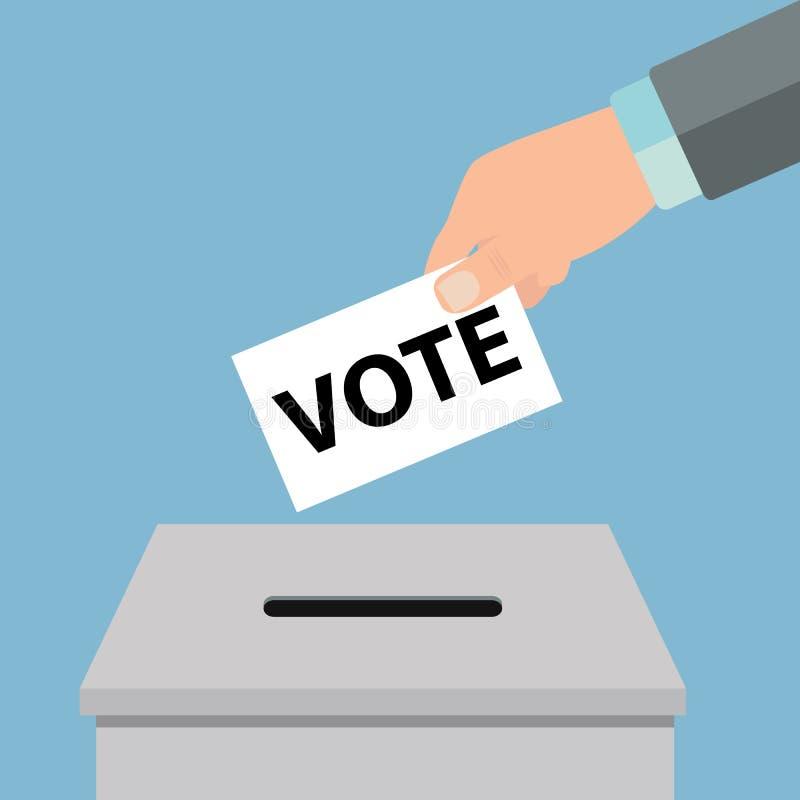 投票的概念 放白皮书入投票箱-传染媒介的手 免版税库存图片