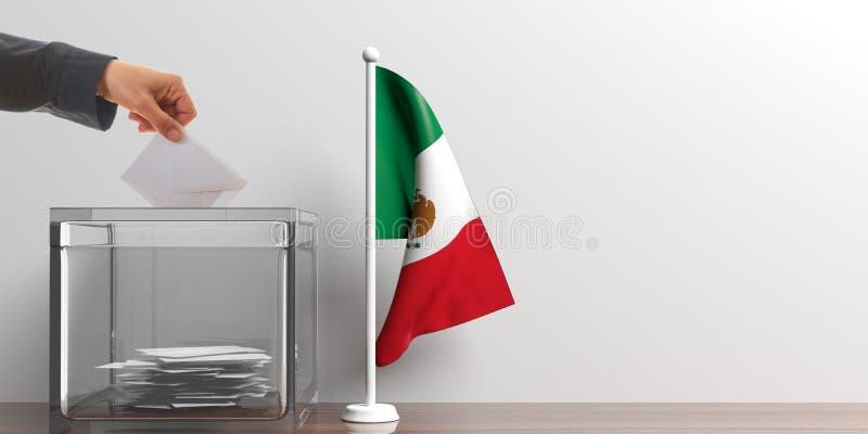 投票箱和一面小墨西哥旗子 3d例证 向量例证