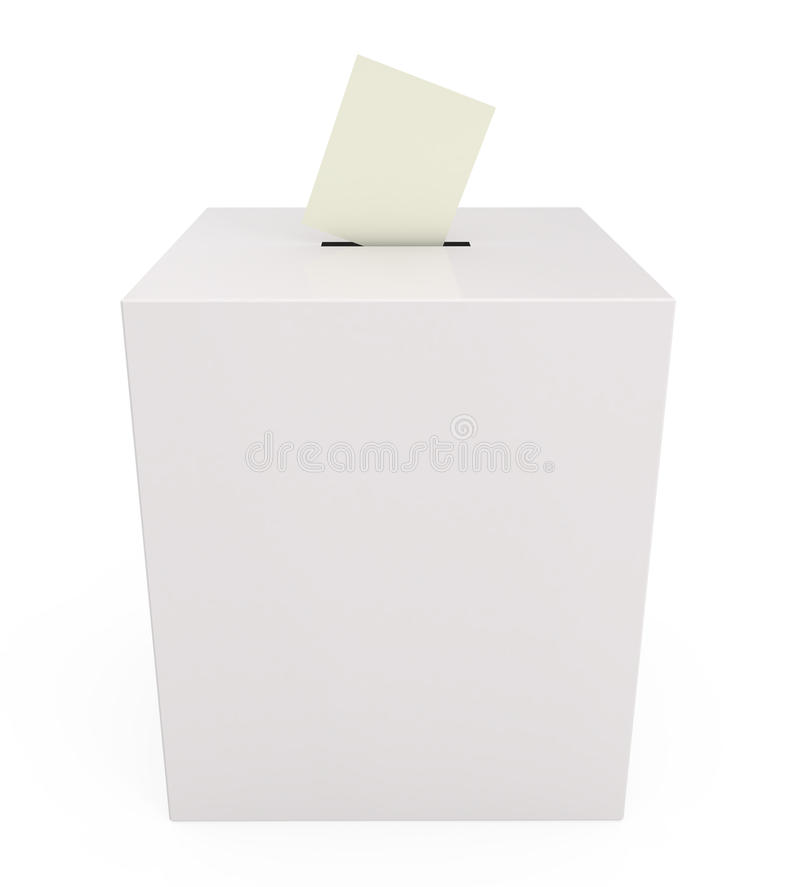投票箱查出的白色 向量例证