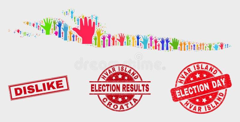 投票赫瓦尔海岛地图和困厄反感邮票拼贴画  皇族释放例证