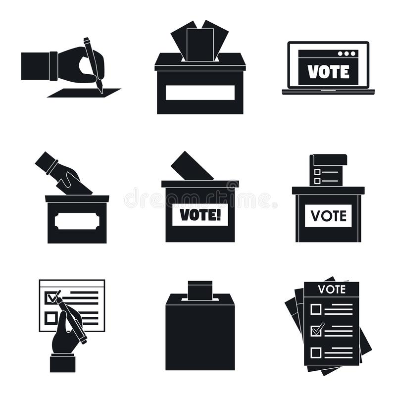 投票选举箱子表决象设置了,简单的样式 向量例证