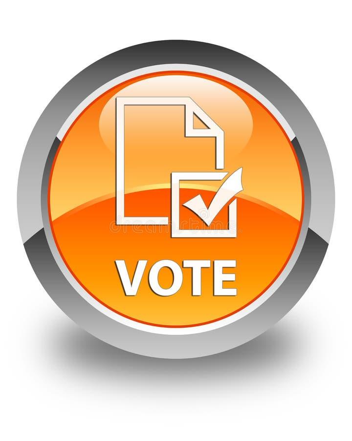 投票(勘测象)光滑的橙色圆的按钮 皇族释放例证
