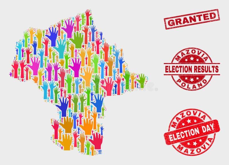 投票Mazovia省地图和被抓的被授予的邮票的构成 向量例证