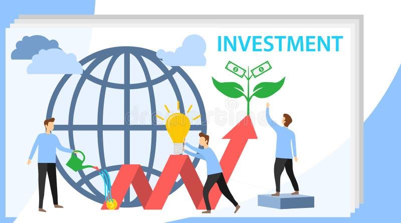 投资传染媒介例证 增长的金钱树 放置赢利和财富增长的事务 配合人 皇族释放例证