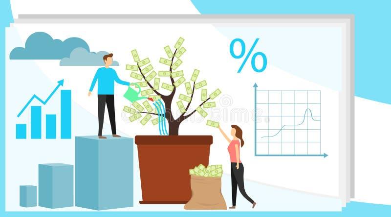 投资传染媒介例证 增长的金钱树 放置赢利和财富增长的事务 配合人 向量例证