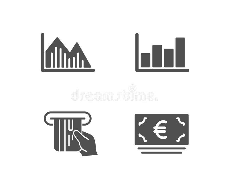 投资图表、报告图和信用卡象 欧洲货币符 向量例证